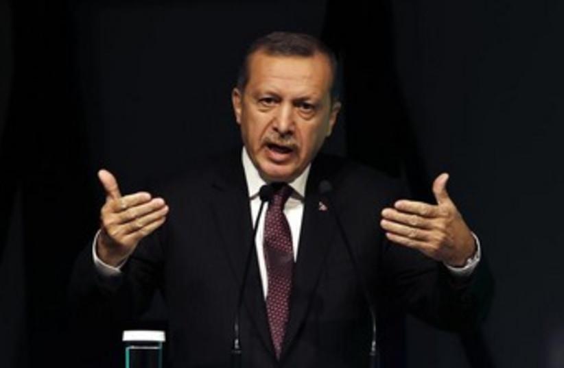 Tayyip Erdogan speaks with hands150 (photo credit: REUTERS/Murad Sezer )