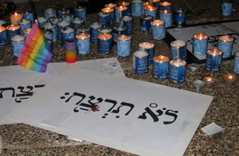candles commemorates LGBT center shooting 370 (photo credit: REUTERS)