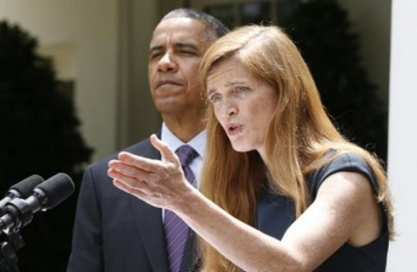 Samantha Power points 370 (photo credit: REUTERS)