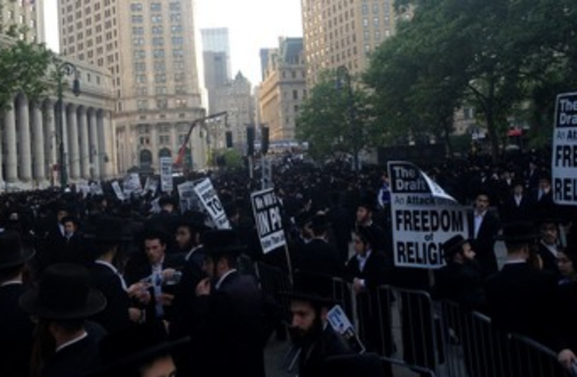 Haredi anti draft protest NYC 370 (photo credit: JTA)