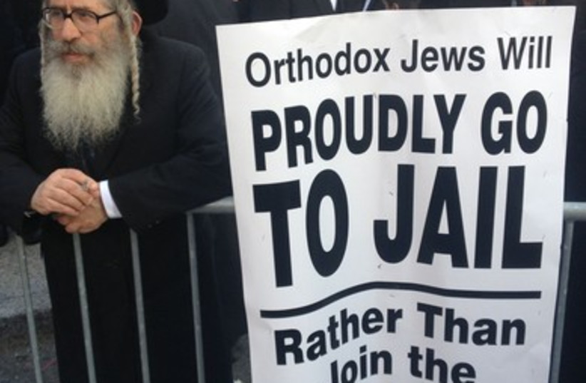 Haredi anti draft protest NYC (photo credit: JTA)