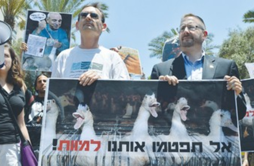 Animal rights activists protest in Tel Aviv (photo credit: Anonymous for Animal Rights)