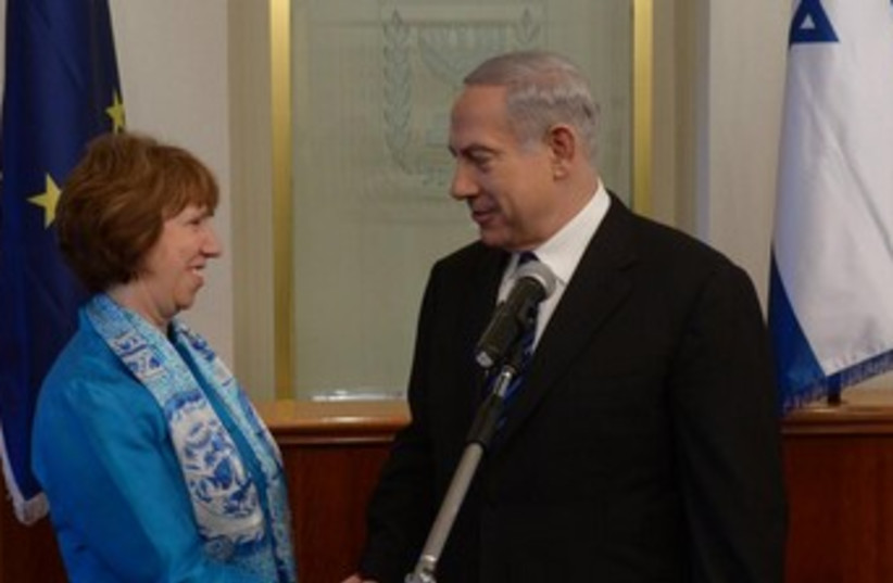 Ashton and Netanyahu shake hands 370 (photo credit: Courtesy - GPO)