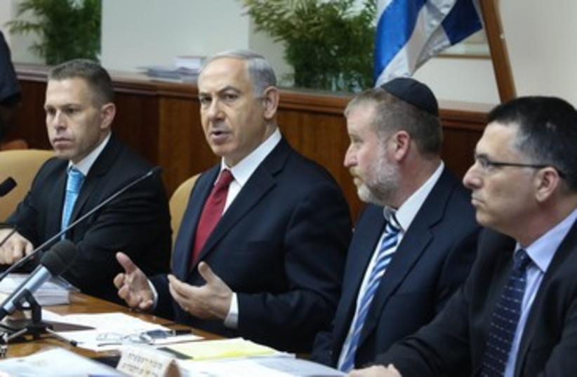 Netanyahu at cabinet meeting 390 (photo credit: Marc Israel Sellem/The Jerusalem Post)