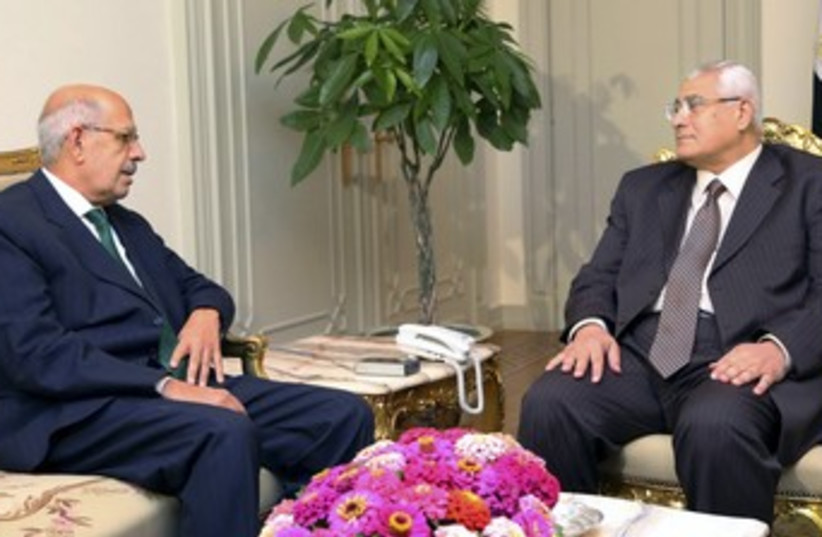 Mohamed El-Baradei and Adli Mansour 370 390 (photo credit: REUTERS/Egyptian Presidency/Handout )