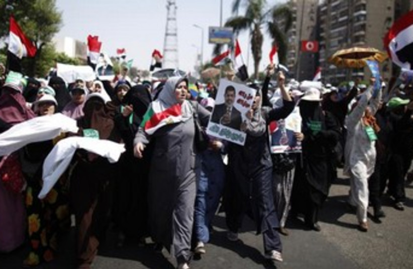 Egypt protests women July 7, 2013 (photo credit: REUTERS/Khaled Abdullah)