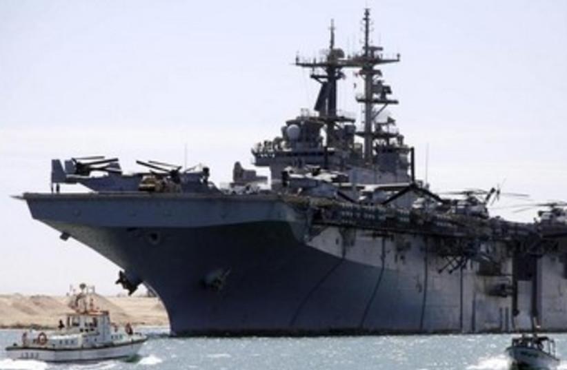 The USS Kearsarge as it sails through the Suez canal 370 (photo credit: REUTERS/Stringer)