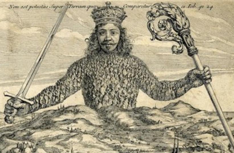 Frontispiece of Leviathan by Thomas Hobbes Abraham Bosse 390 (photo credit: Courtesy of Mosaic Magazine)