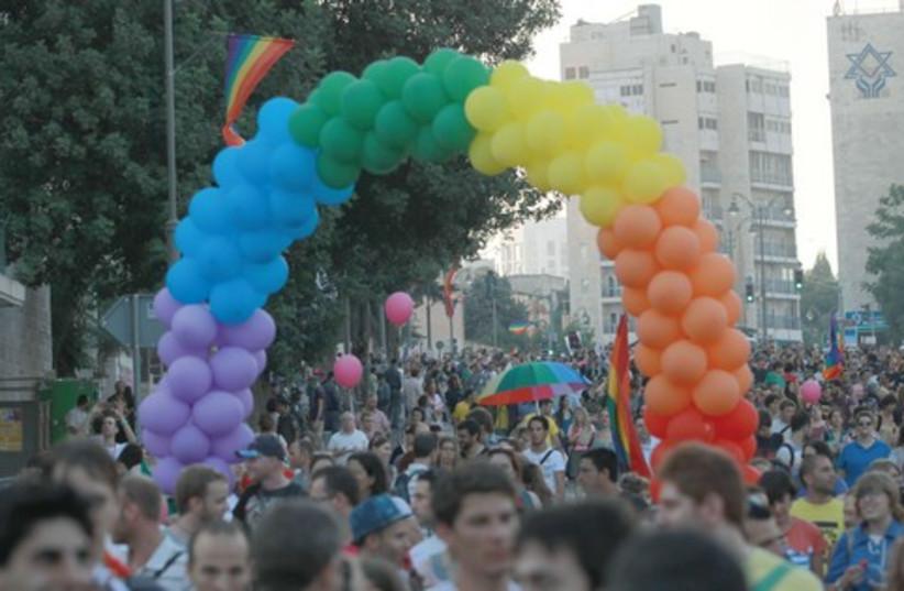 Gay rights balloon rainbow 521 (photo credit: Marc Israel Sellem)