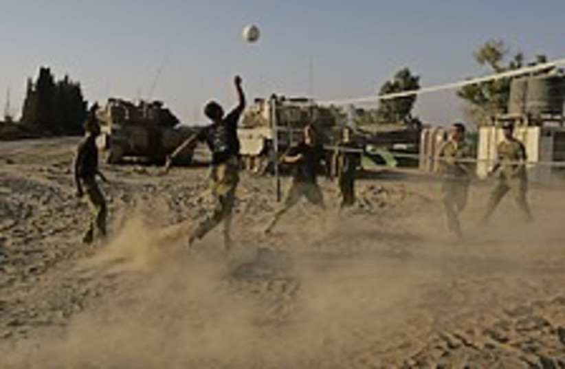 IDF troops volleyball  (photo credit: AP)