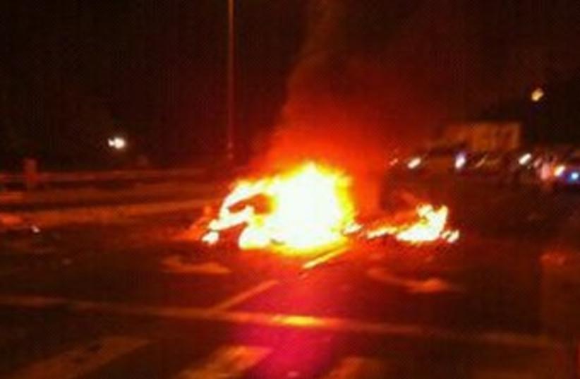 Car explosion at Yarkonim Junction 370 (photo credit: Courtesy MDA)