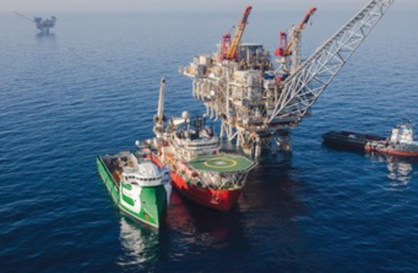 The Tamar gas processing rig off the coast of Israel 370 (photo credit: Noble Energy)
