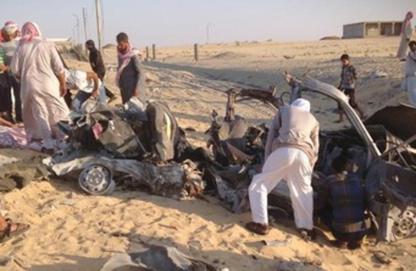Car bombing in El-Arish 370 (photo credit: REUTERS)