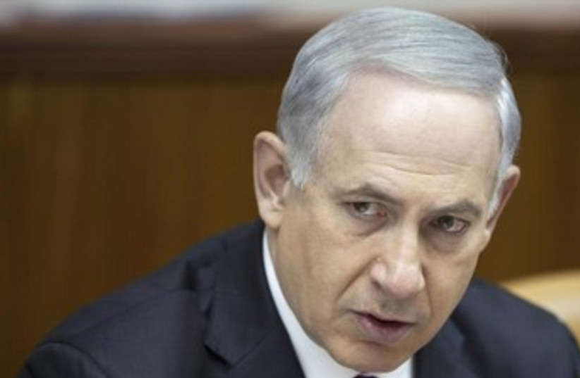 Netanyahu at cabinet meeting 370 (photo credit: REUTERS)
