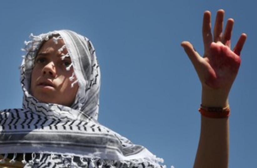 Israelis protesting Palestinian prisoner release (photo credit: Marc Israel Sellem/The Jerusalem Post)