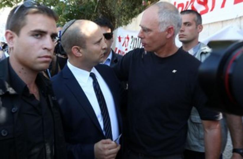 Naftali Bennett at protest (photo credit: Marc Israel Sellem/The Jerusalem Post)