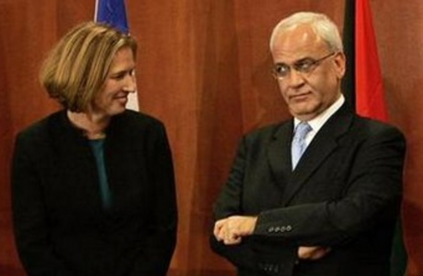 Livni and Erekat 370 (photo credit: REUTERS)