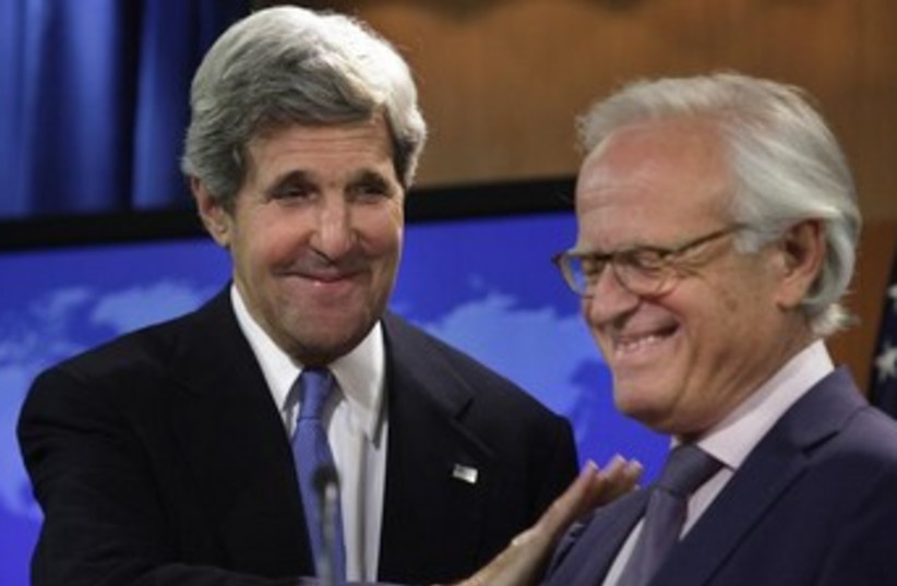 US Secretary of State John Kerry and Martin Indyk 370 (photo credit: Reuters)