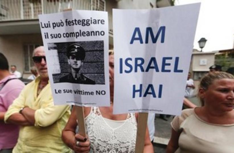Protest in Rome against Nazi 370 (photo credit: REUTERS/Yara Nardi)