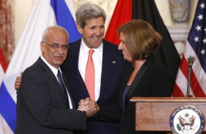 Kerry, Livni, Erekat press conference 370 (photo credit: REUTERS/Jonathan Ernst)