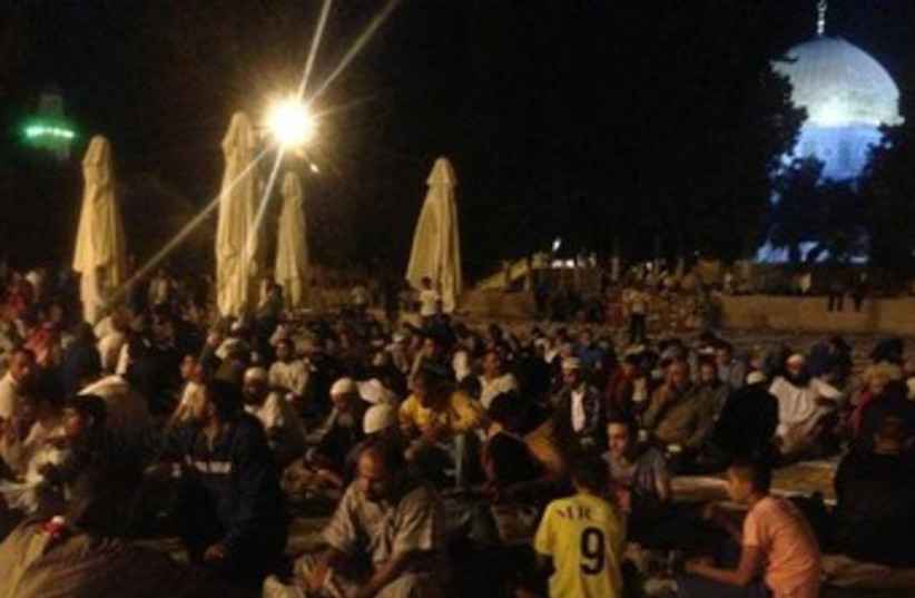 Palestinian youth spending the night on Temple Mount 370 (photo credit: Joint Committee of Temple Organizations)