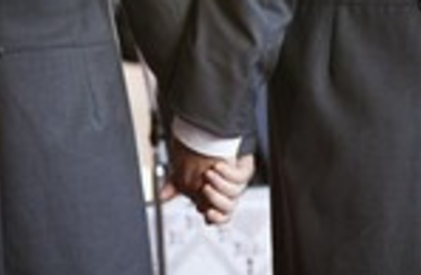 Gay wedding holding hands 150 (photo credit: REUTERS/Pepe Marin)