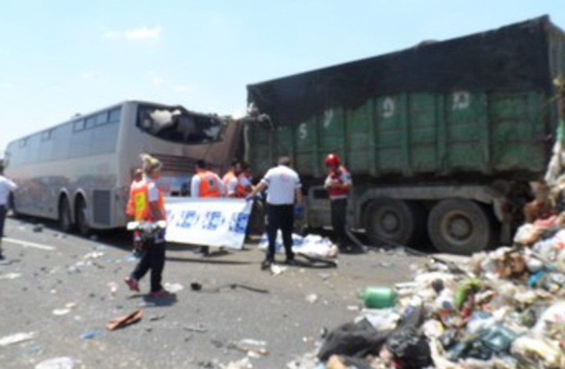 Scene of accident on Route 6 370 (photo credit: Moshe Mizrahi / News 24)