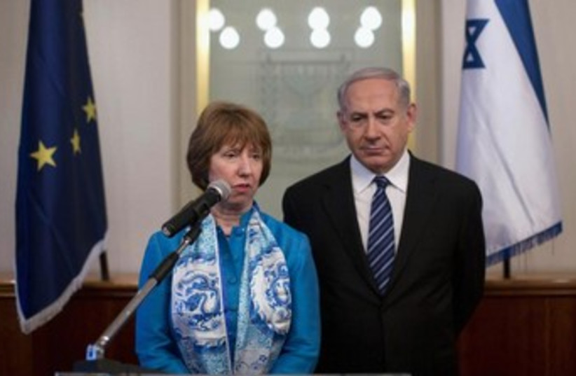 Netanyahu and Ashton looking sullen 370 (photo credit: REUTERS/Abir Sultan/Pool )