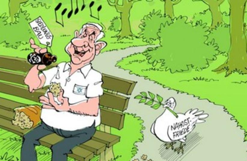 Cartoon of Netanyahu poisoning peace process 370 (photo credit: 'Stuttgarter Zeitung'.)