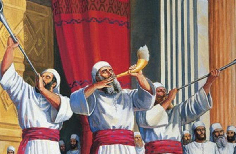Painting Cohen blowing shofar in Holy Temple 370 (photo credit: (Courtesy The Temple Institute))