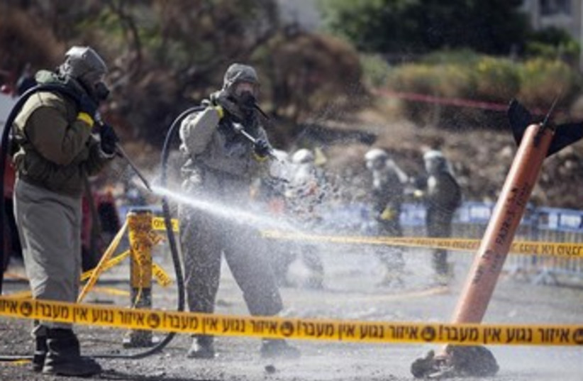 Israeli soldiers in chemical weapons drill 370 (photo credit: REUTERS)