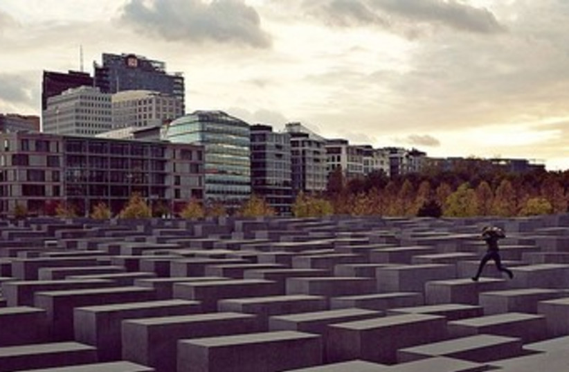 Memorial to the Murdered Jews of Europe in Berlin 370 (photo credit: Photomontage from Wikipedia via Mosaic Magazine)