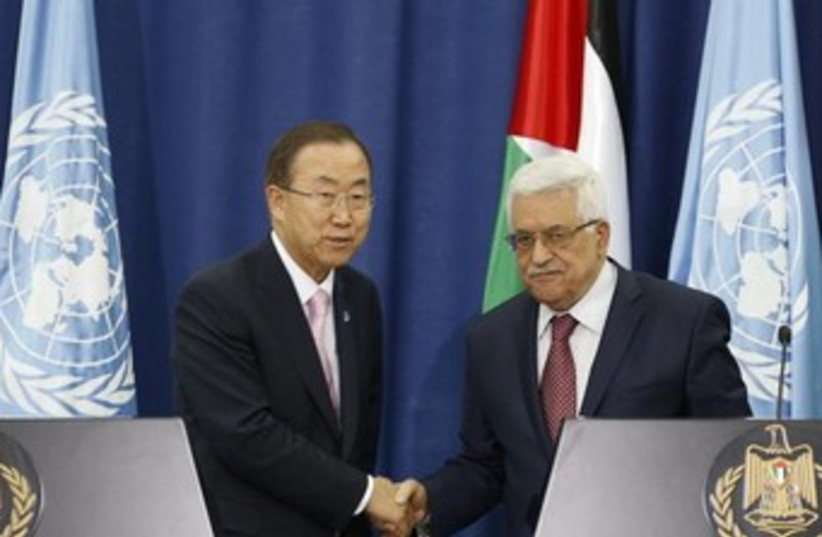 Abbas and Ban Ki-moon 370 (photo credit: REUTERS)