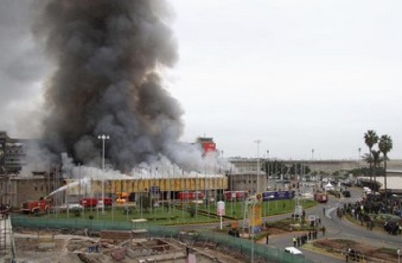 Kenya airport on fire 370 (photo credit: REUTERS)