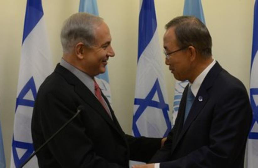 Ban Ki-moon and Netanyahu 370 (photo credit: GPO)