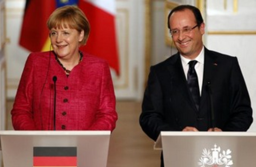 Angela Merkel and Francois Hollande 370 (photo credit: REUTERS/Charles Platiau)