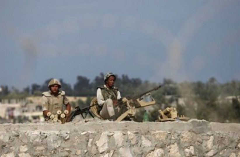 Egyptian soldiers keep guard in Sinai 370 (photo credit: REUTERS)