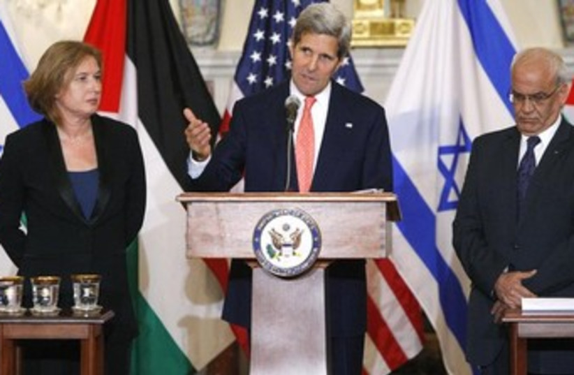 Tzipi Livni, John Kerry, and Saeb Erekat 370 (photo credit: Reuters)