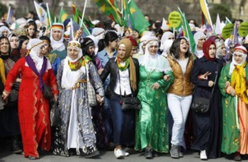 Turkey women protest gender equality 370 (photo credit: REUTERS)