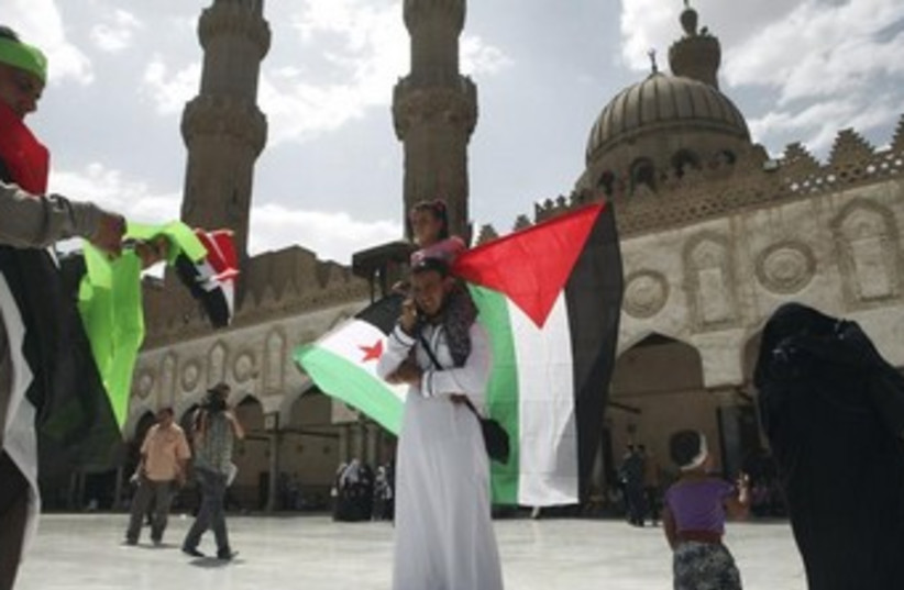 Egypt, Palestine, Syria flags (photo credit: REUTERS/Asmaa Waguih )