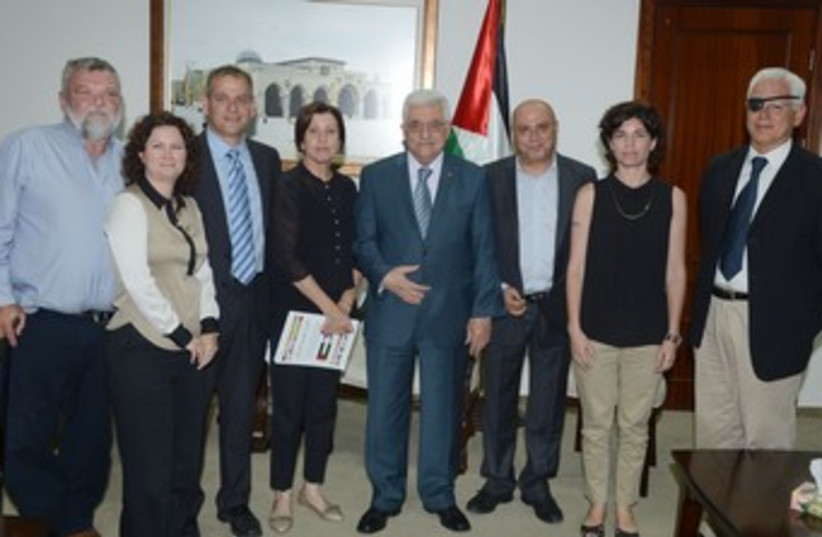 Abbas with Meretzs MKs  (photo credit: Courtesy Palestinian Authority)