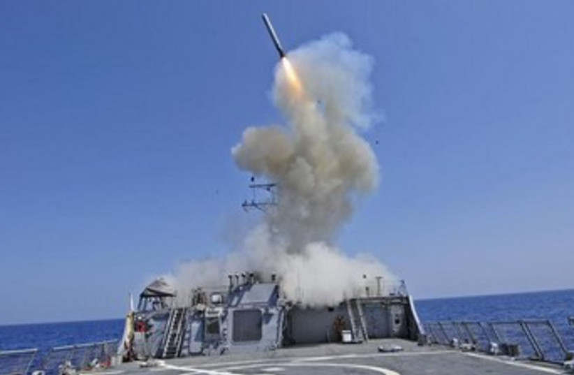 US destroyer launches cruise missile 370 (photo credit: REUTERS)