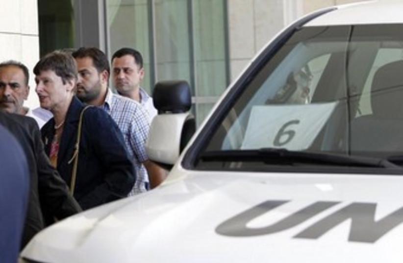 UN's Angela Kane arrives in Damascus August 24, 2013 370 (photo credit: REUTERS)