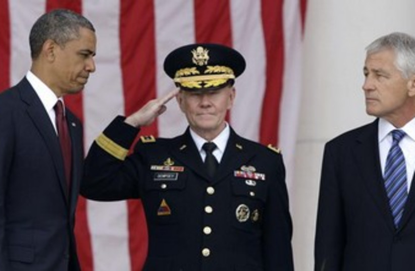 Obama, Dempsey and Hagel 370 (photo credit: REUTERS)