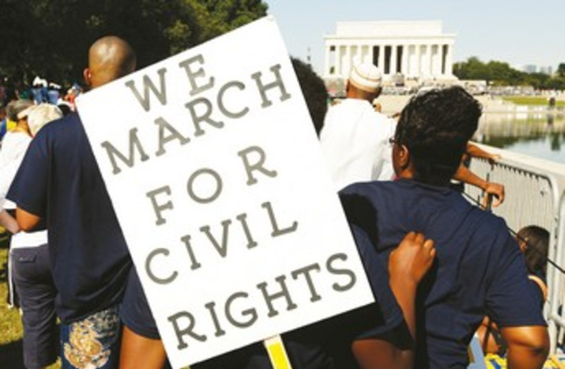 Civil rights sign US 370 (photo credit: REUTERS)