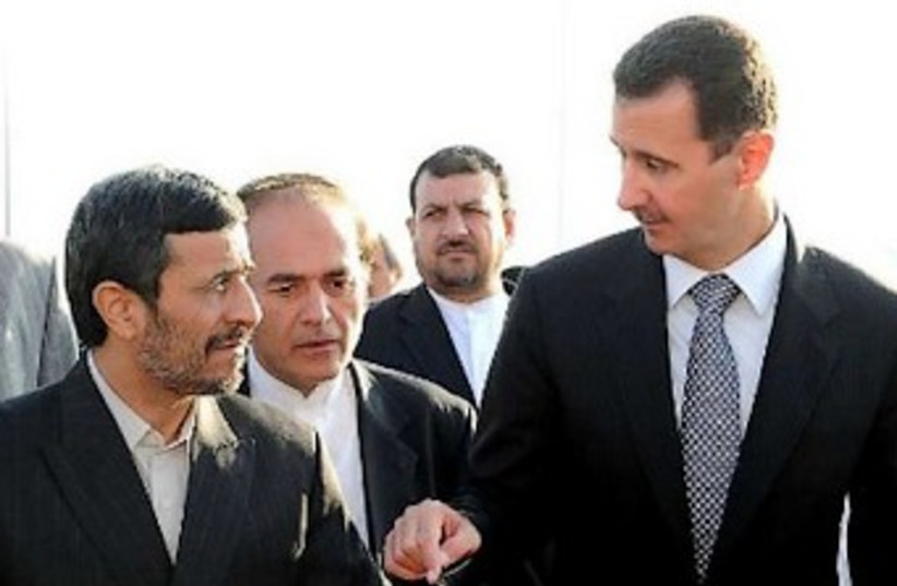 Ahmadinejad Assad Damascus 370 (photo credit: Reuters)