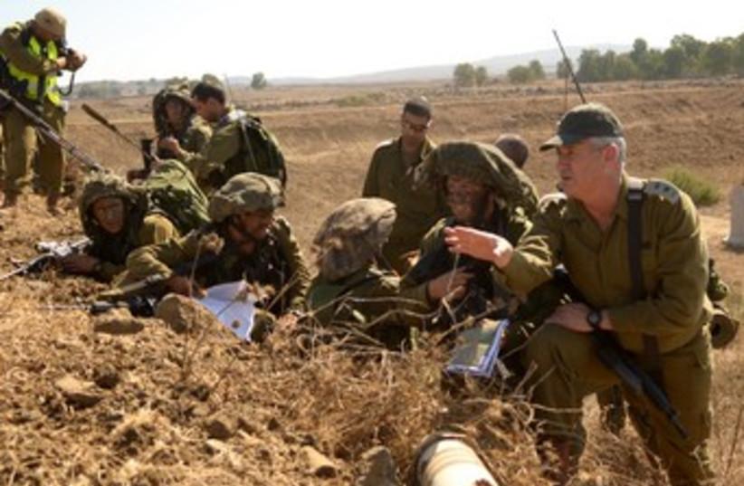 Gantz during tour of Golan 370 (photo credit: IDF Spokesman)