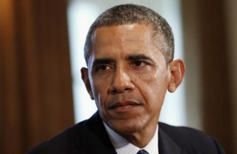 Barack Obama speaking about Syria crisis 370 (photo credit: REUTERS/Kevin Lamarque)