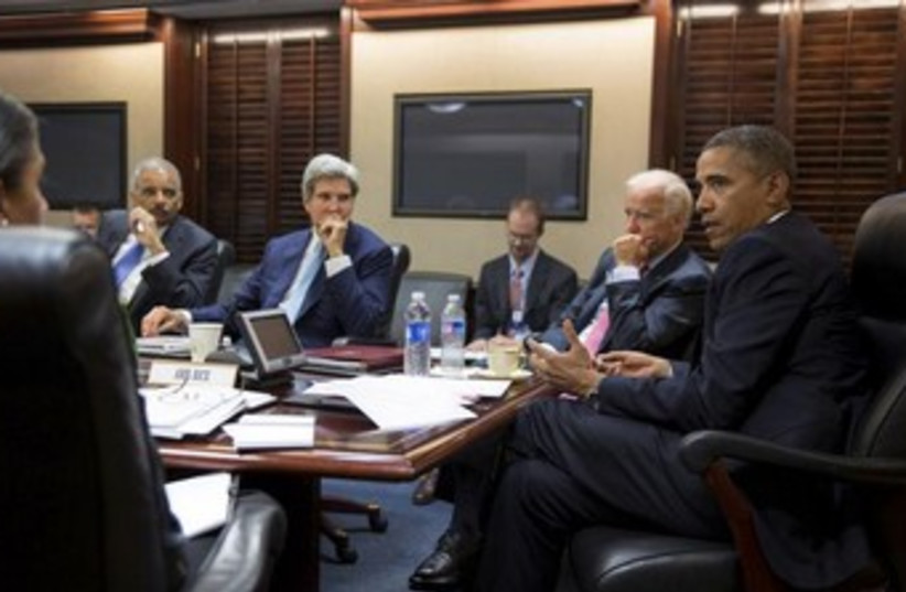 Obama meets natioanl security team at White House 370 (photo credit: REUTERS)