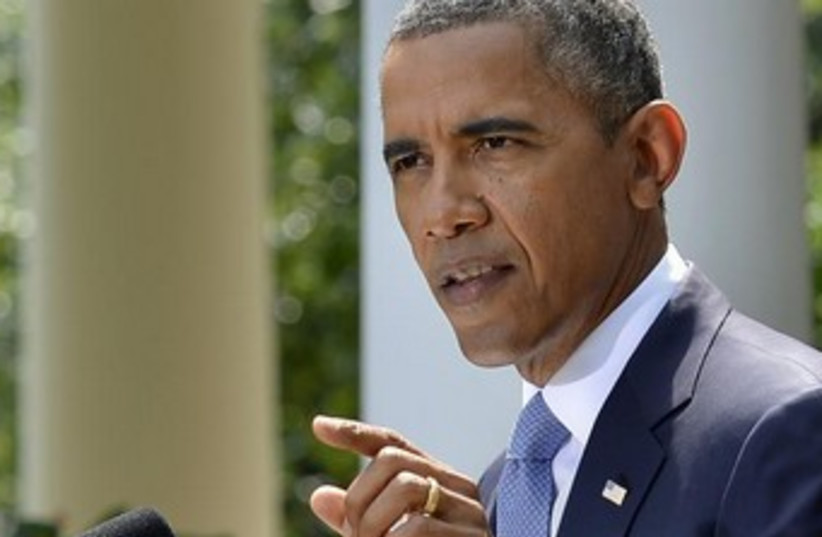 Obama makes remarks on Syria 370 (photo credit: REUTERS/Mike Theiler)